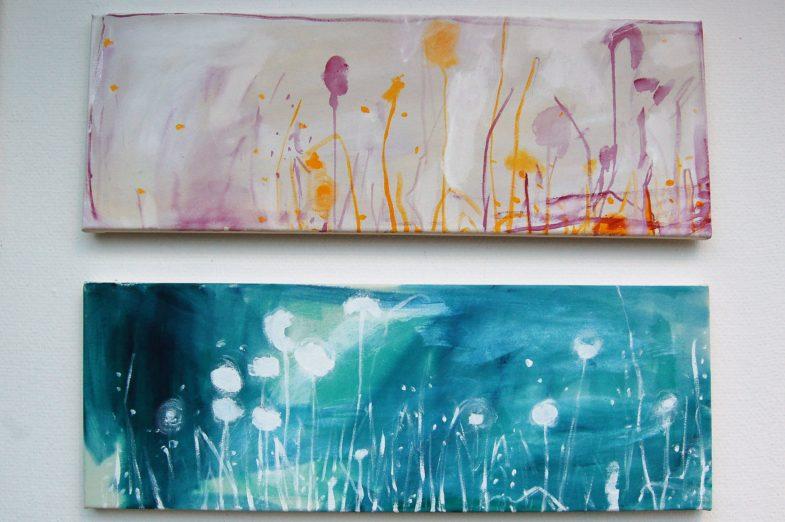 Blumenwiesen in Acrylfarbe auf Leinwand von Annekathrin Kemper