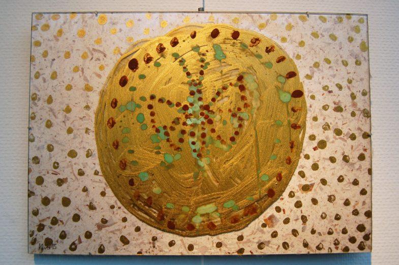 Arbeit aus Oxydofarben und Glas von Walter Maus