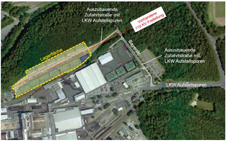 Nördliches Betriebsgelände mit geplanten Lagerflächen für Briketts, Schaubild: RWE