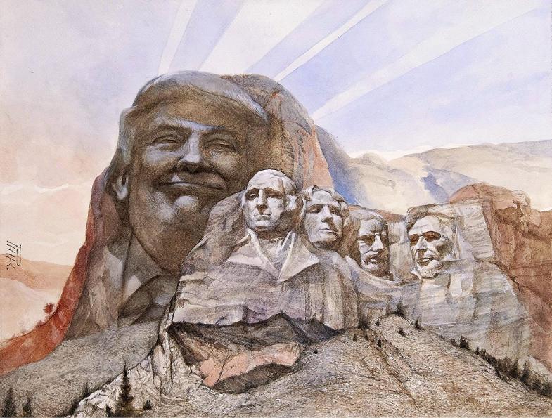 Trump im Mount Rushmore, Aquarell/Karikatur von Peter H.H. Klaucke