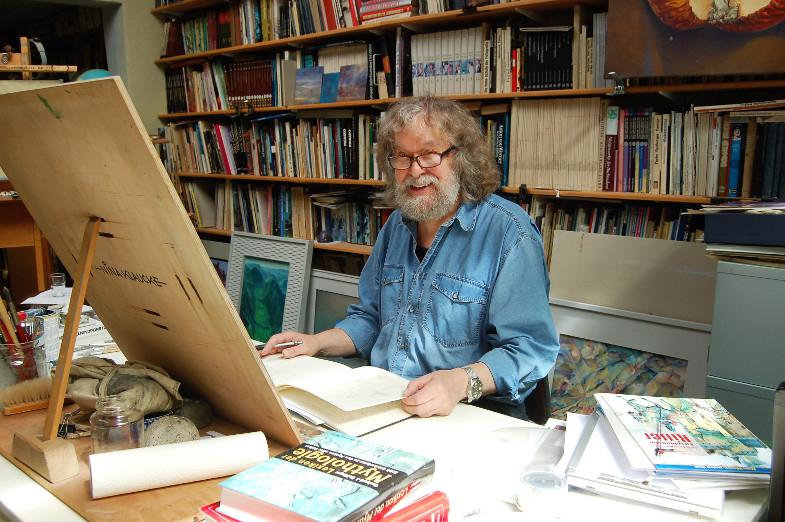 Peter H.H. Klaucke in seinem Atelier und Arbeitszimmer in Königsdorf