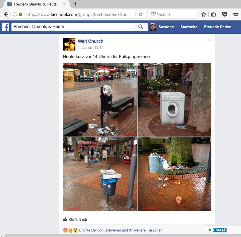 Bildzitat aus Facebook zu Müll in der Fußgängerzone