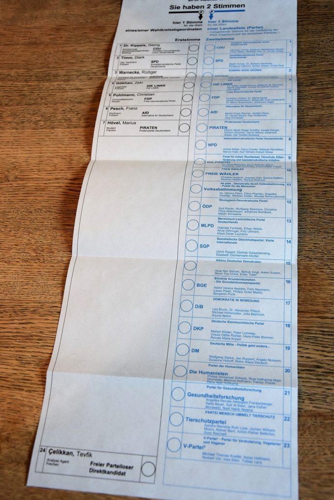 Stimmzettel im Wahlkreis Rhein-Erft 1 zur Bundestagswahl 2017