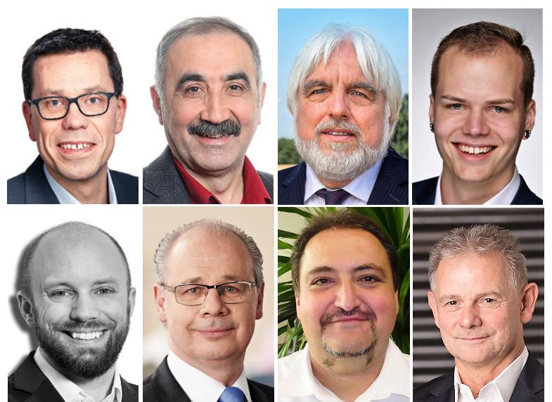 Von den acht Direktkandidaten im Wahlreis Rhein-Erft-1 (91) selbst zur Verfügung gestellte Fotos: Dierk Timm (SPD), Zeki Gökhan (Linke), Rüdiger Warnecke (Bündnis 90/Grüne), Marius Hövel (Piraten), Christian Pohlmann (FDP), Dr. Georg Kippels (CDU), Tevfik Çelikkan (parteilos), Franz Pesch (AfD)