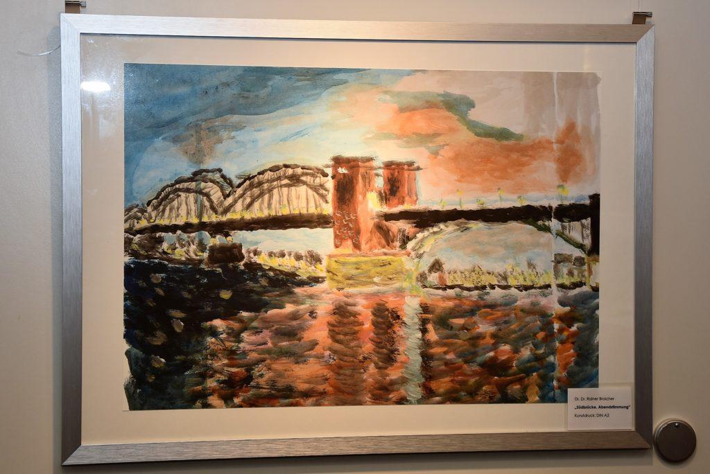 """Kunstdruck, Din A2: Dr.Dr. Rainer Broicher, """"Südbrücke, Abenddämmerung"""""""