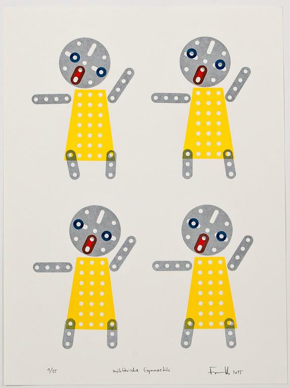 """""""militärische Gymnastik"""", Grafik Nr. 1 aus dem Buchprojekt """"Die Falle des Gargancjan"""" von Stanislaw Lem, ausgestellt auf der 18. Grafik-Triennale Frechen"""
