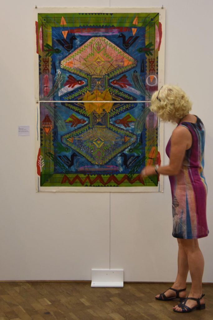 """Natalia Tarnawa: """"Textiles Project Rug No2"""" (2017) ausgestellt auf der 18. Grafik-Triennale Frechen"""