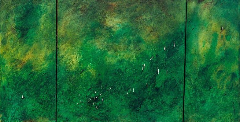 """biomorph"" (Zeder, Acryl, Kohle auf Leinwand, H 90 cm, B 170 cm) - Rose Schreiber + Michael Mayr"