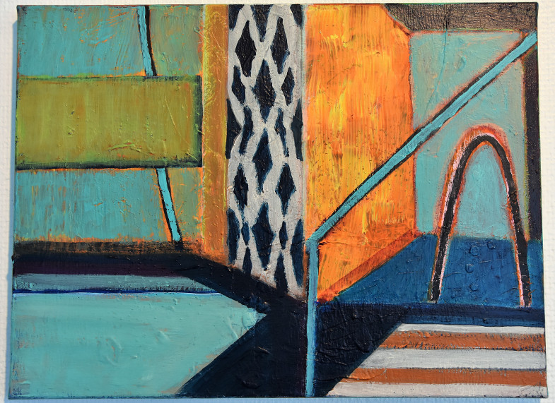 """""""Schwimmbad"""" von Ursula Krenzler, Exponat der Ausstellung """"PLACE TO BE"""" vom Kunstverein zu Frechen im Stadtsaal. Foto: Susanne Neumann"""