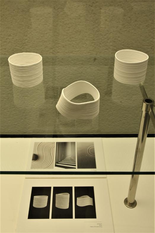 """Mit ihrem Wettbewerbsbeitrag """"linie I lines I linea"""", drei Objekte für das Handgelenk, gewann Helena Boddenberg einen ersten Preis.<br>Foto: Susanne Neumann"""