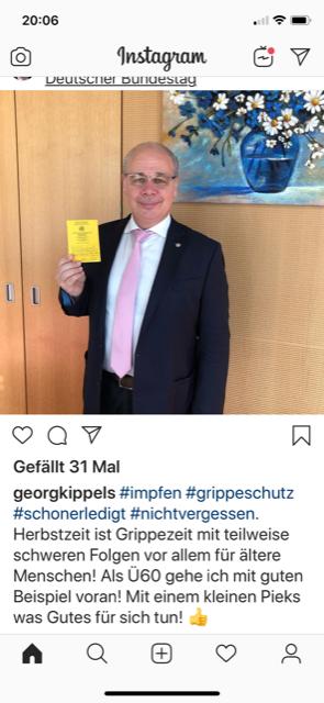 Kachel von Dr. Georg Kippels auf Instagram zur Grippeschutzimpfung
