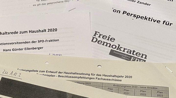 Tischvorlagen Haushaltsreden der Fraktionsvorsitzenden zur Stadtratssitzung am 10. Dezember.