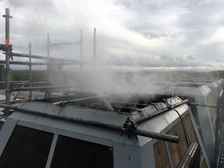 Schlot-Zusatzbedüsung auf dem Dach eines Fabrikgebäudes der Brikettfabrik Wachtberg, Foto: RWE Power