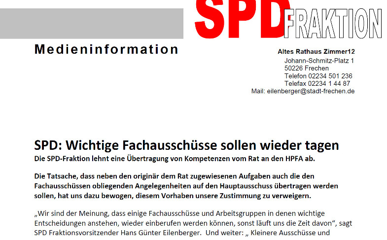 Auszug Medienmitteilung der SPD Fraktion im rat der Stadt Frechen vom 24. April 2020