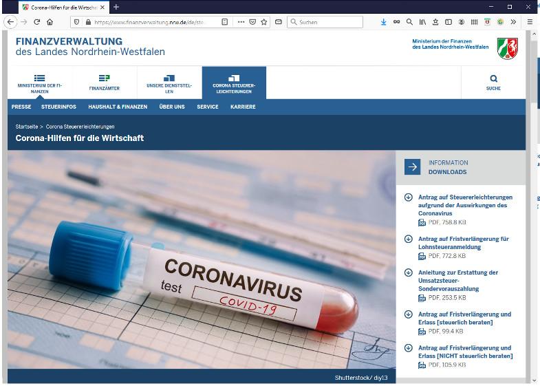 Corona Hilfe für die Wirtschaft aus NRW